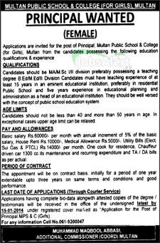 Jobs for Principal in Multan Public School & College