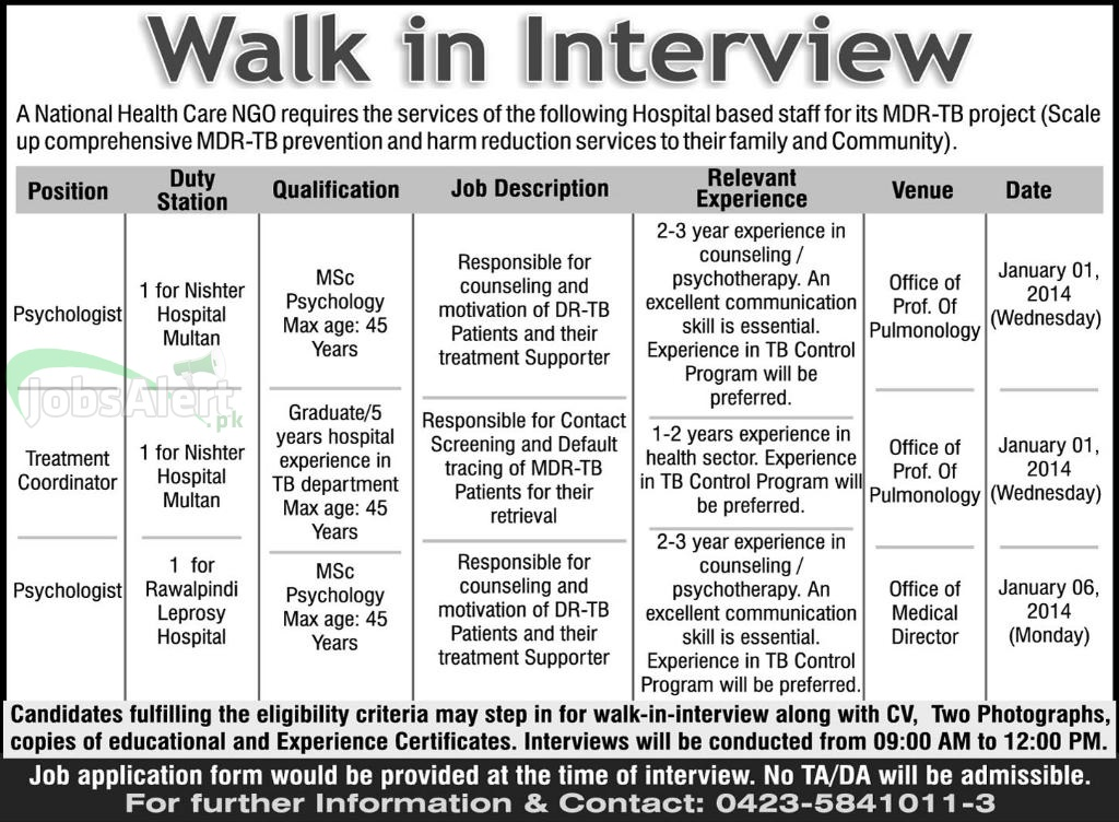 Jobs for Psychologist in National Health Care NGO Lahore