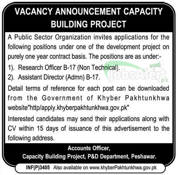 Jobs for Research Officer in Capacity Building Project Peshawar