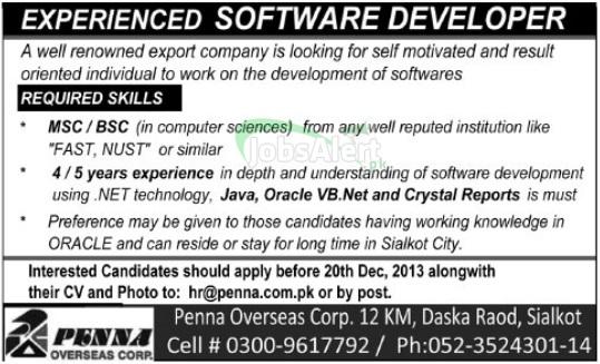 Jobs for Software Developer in Penna Overseas Corporation Sialkot