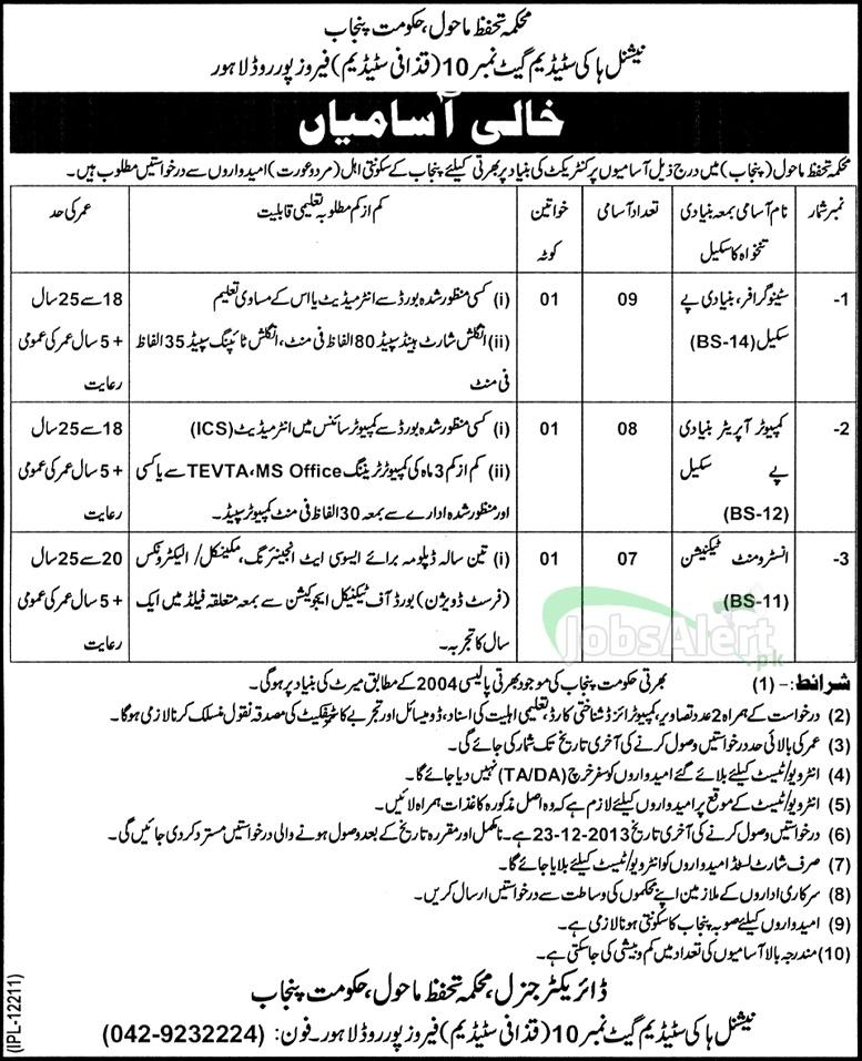 Jobs for Stenographer in National Hockey Stadium Govt of Punjab Lahore