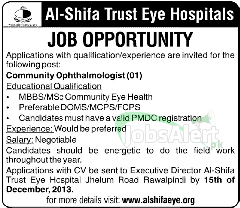 Jobs in Al-Shifa Trust Eye Hospitals 2013