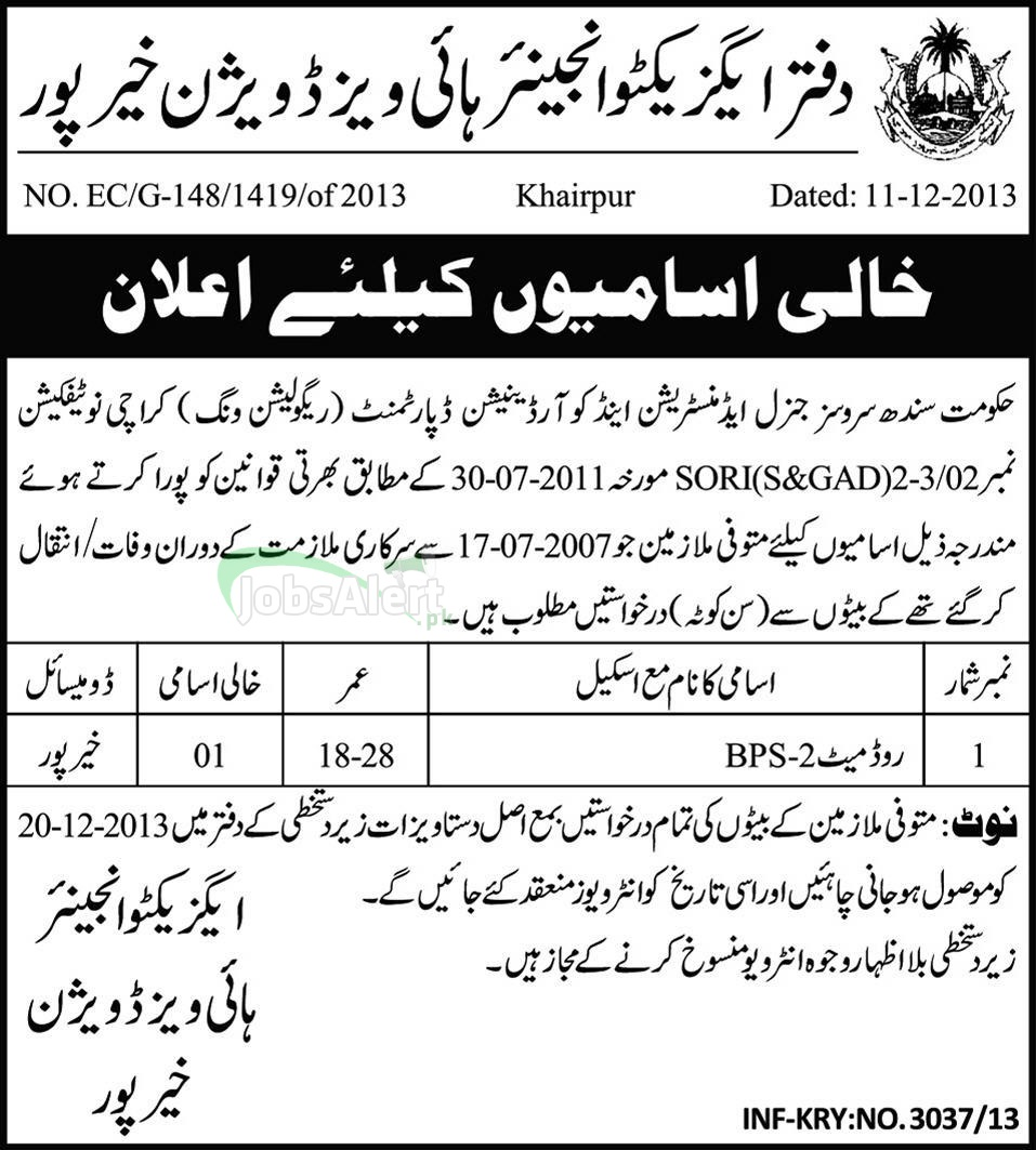 Jobs in Coordination Department Highways Division, Khairpur