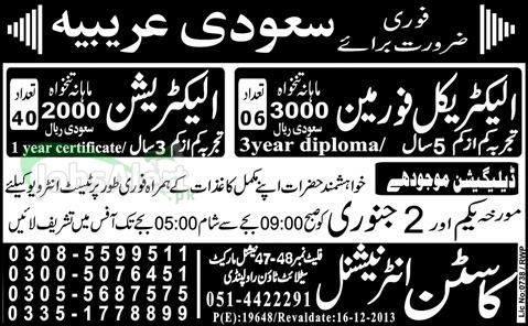 Jobs in Saudi Arabia for Electrical Foreman and Electrician