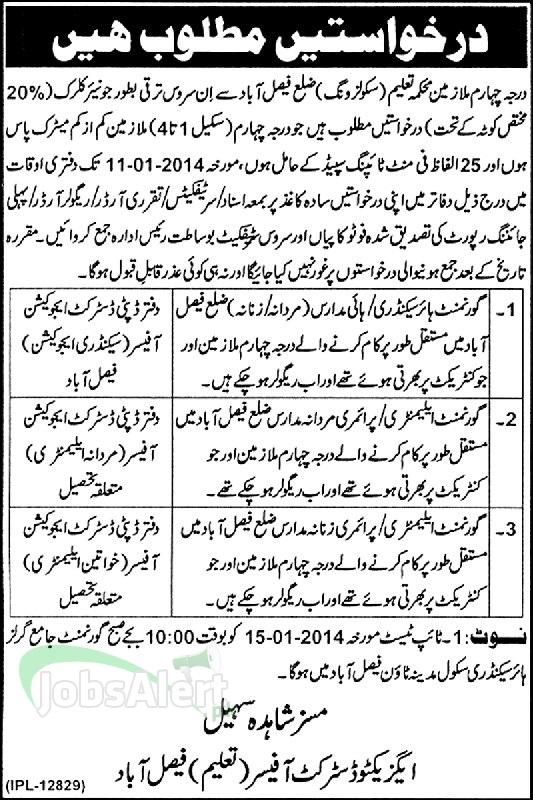 Junior Clerk Jobs in Ministry of Education Punjab Faisalabad