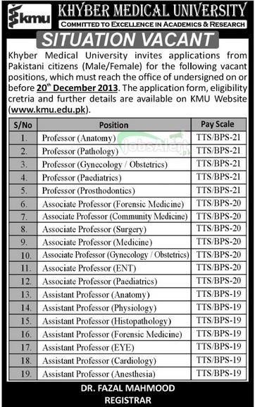 Professor Jobs in Khyber Medical University (KMU) Peshawar