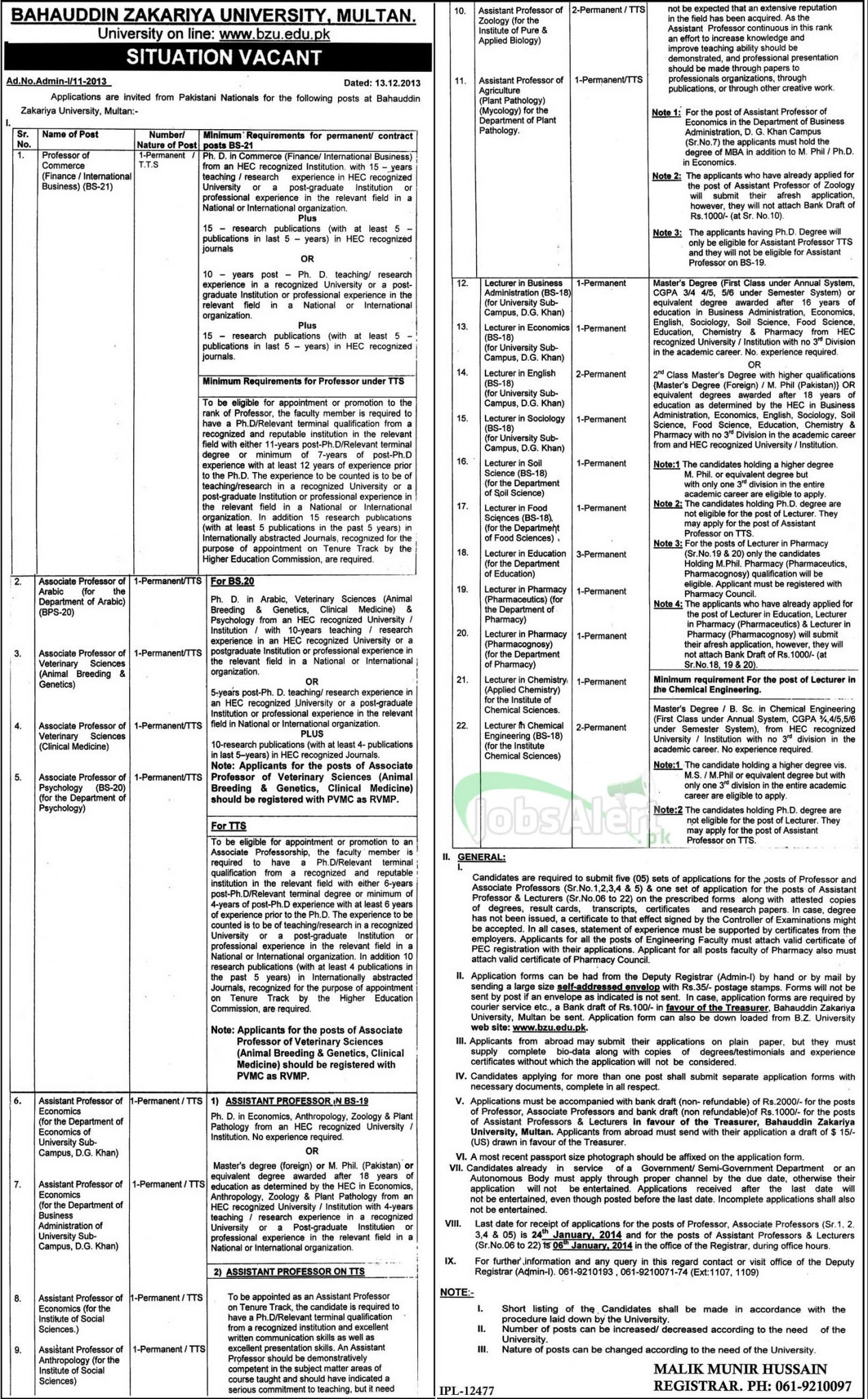 Professor & Lecturer Jobs in Bahauddin Zakariya University Multan