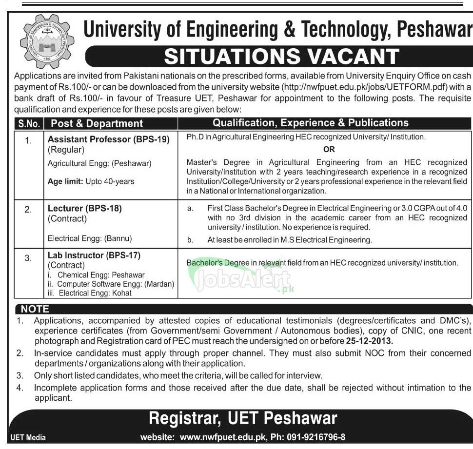 Professor & Lecturer Jobs in University of Engineering & Technology Peshawar