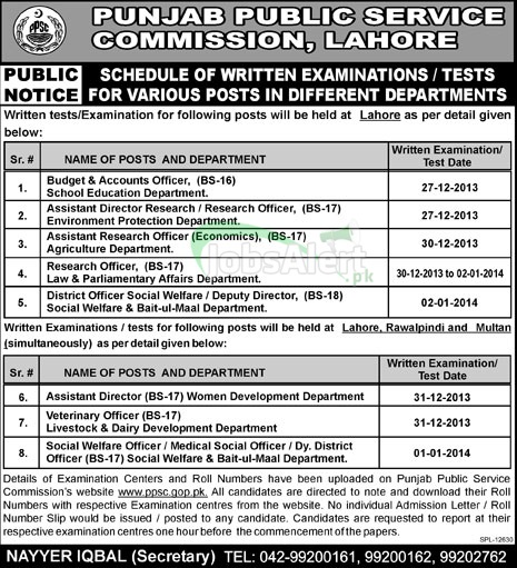 Written Test for Accounts Officer & Assistant Director in PPSC Lahore