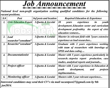 Civic Education Expert, Project & Monitoring Officer Jobs in Quetta