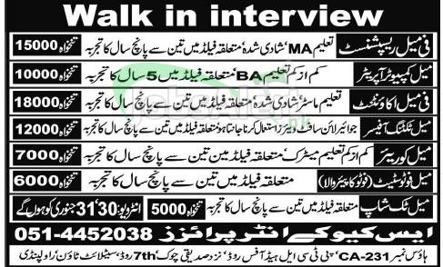 Computer Operator & Accountant Jobs in SQK Enterprises Rawalpindi