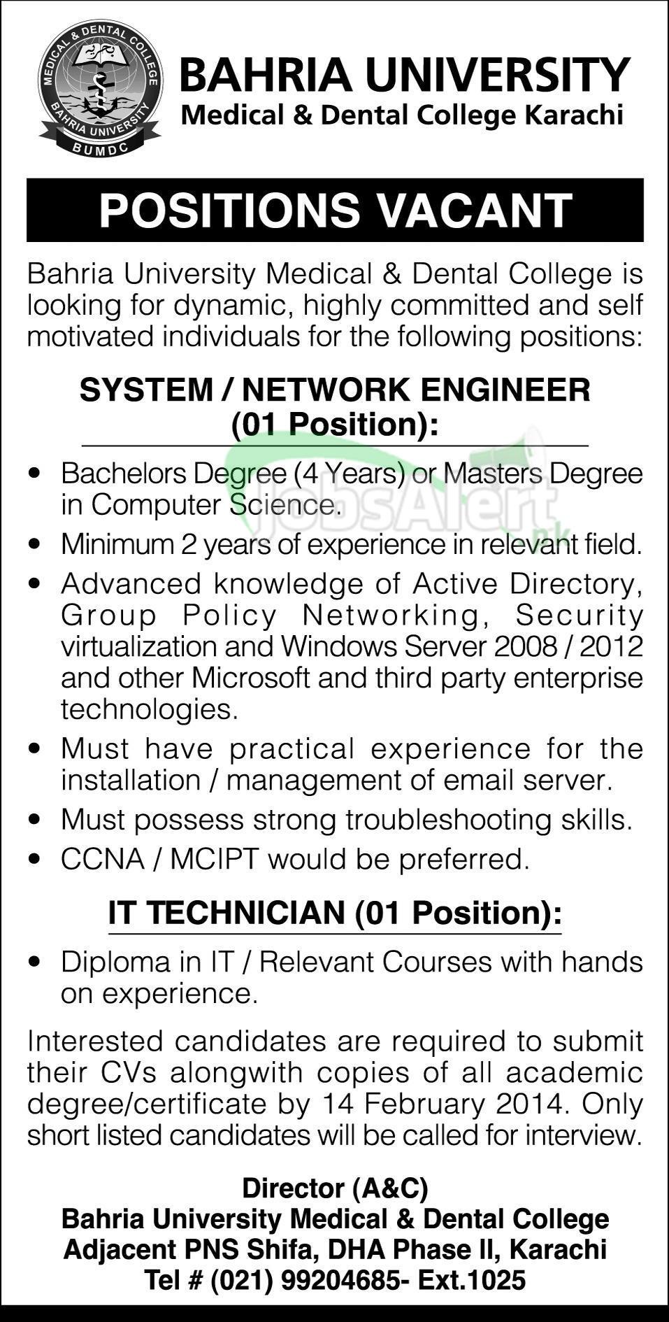 Engineer & IT Technician Jobs in Bahria University Karachi