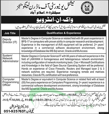 Jobs for Director and Computer Programmer in NUML Islamabad