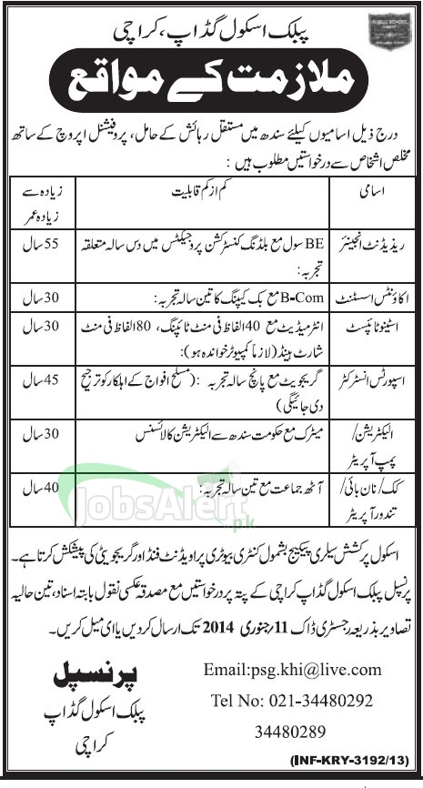 Jobs for Engineer and Stenotypist in Public School Gadap Karachi