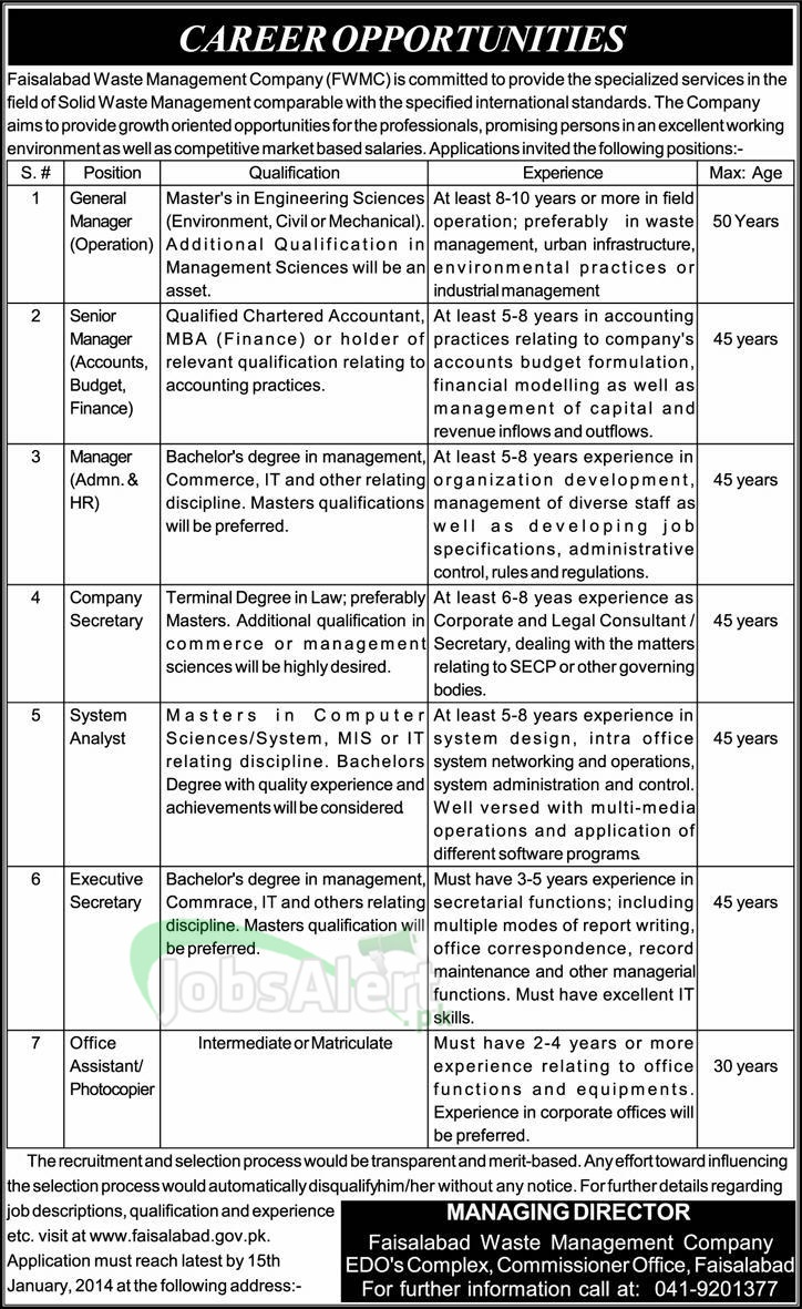 Jobs for General Manager in Faisalabad Waste Management Company