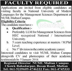 Jobs for Management Sciences Department in NUML Multan