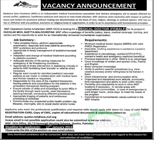 Jobs for Medical Doctor in Medecins Sans Frontieres Quetta
