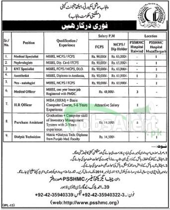 Jobs for Medical Specialist in PSSHMC Govt of Punjab Lahore