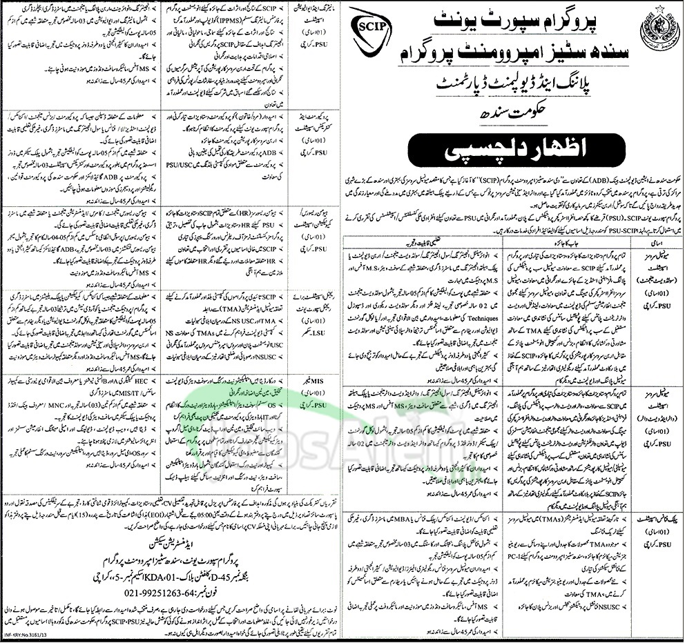 Jobs for Municipal Service Specialist in SCIP Govt of Sindh