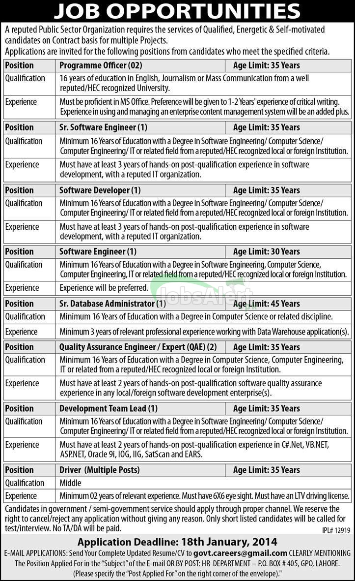 Jobs for Programme Officer in Public Sector Organization Lahore