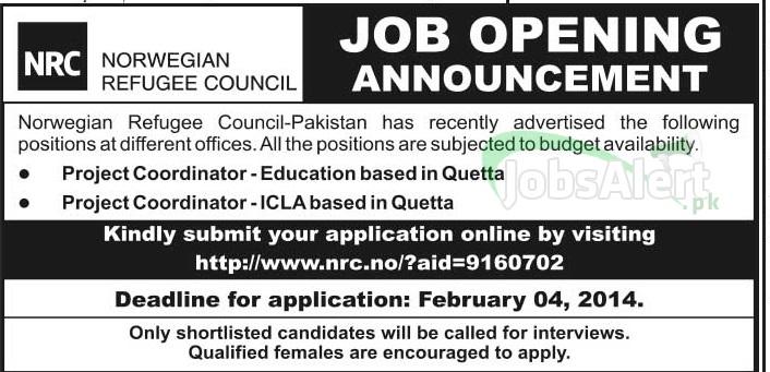 Jobs for Project Coordinator in Norwegian Refugee Council Pakistan