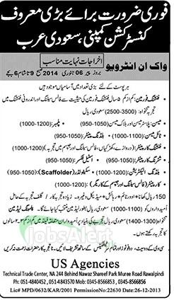 Jobs in Saudi Arabia for Foreman, Mason and Electrician