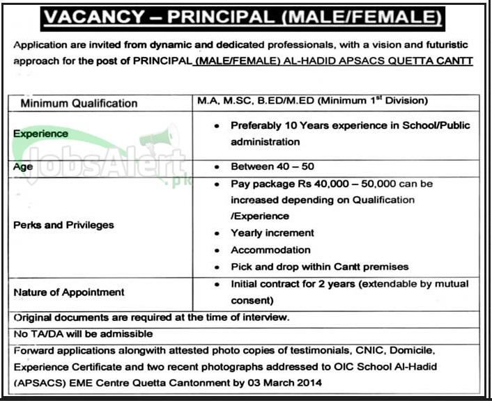 Principal Jobs Male & Female in Al Hadid APSACS Quetta