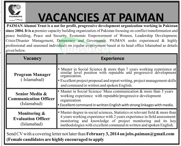 Program Manager Jobs in PAIMAN Alumni Trust Islamabad
