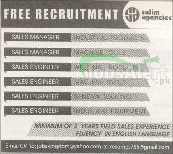 Sales Manager & Sales Engineer Jobs in Salim Agencies Pakistan