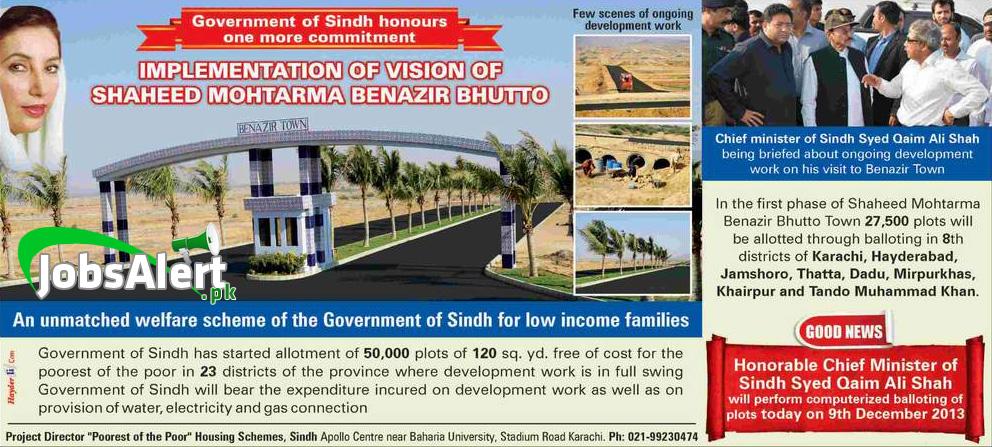 Shaheed Benazir Town Housing Plot Scheme 2014 in Sindh