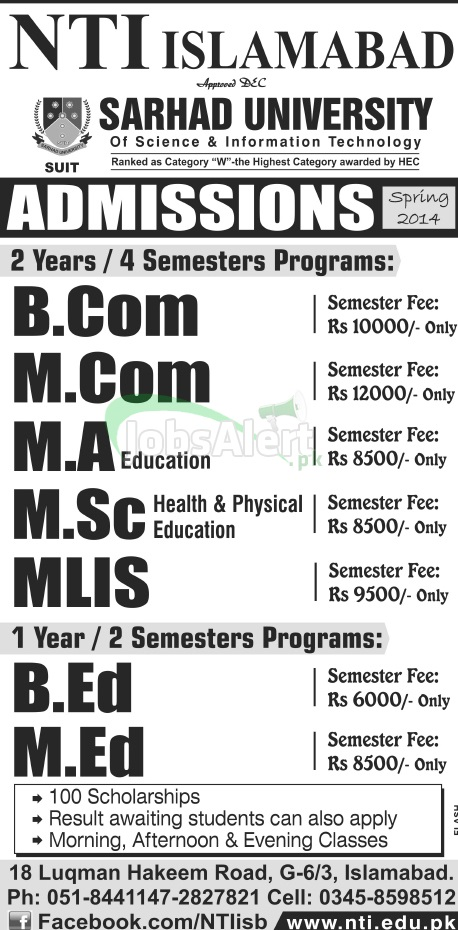 Admissions in Sarhad University of Science & Information Technology