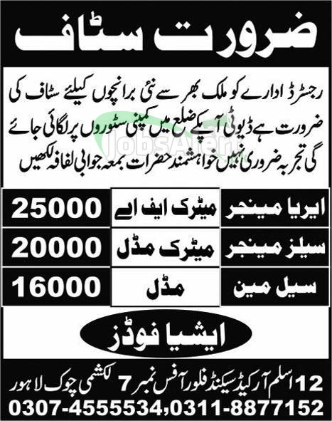 Area Manager & Sales Manager Jobs in Asia Foods Lahore