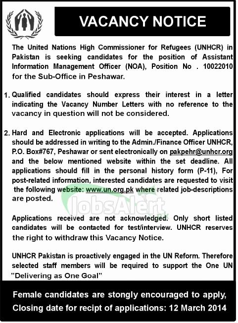 Assistant Information Management Officer Jobs in UNHCR Peshawar