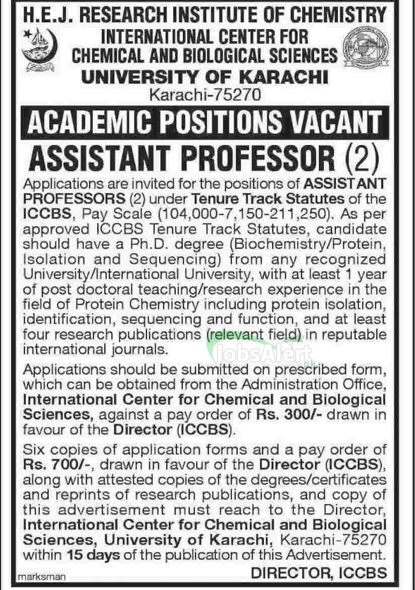 Assistant Professor Jobs 2014 in ICCBS University of Karachi