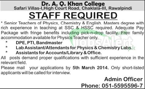 Asst for Accounts Jobs in Dr. A. Q. Khan College Rawalpindi