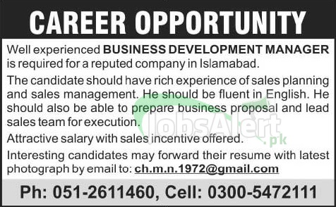 Business Development Manager Jobs 2014 in Islamabad