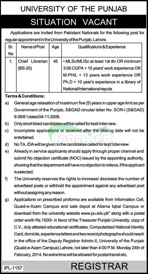 Chief Librarian Jobs 2014 in University of The Punjab