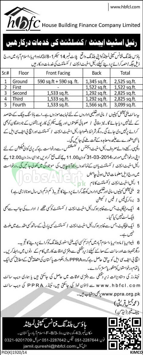 Consultant Jobs in House Building Finance Company Ltd. Islamabad