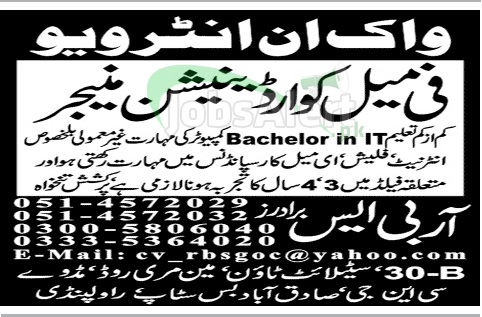 Coordination Manager Jobs for Female in RBS Brothers Rawalpindi