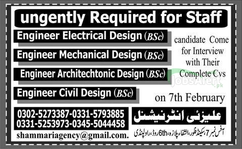 Engineer Jobs 2014 in Alizai International Rawalpindi