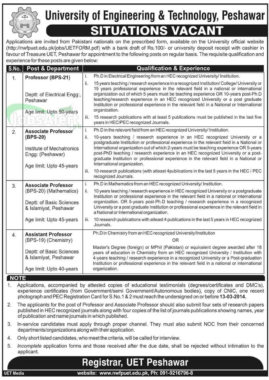 Govt Jobs in University of Engineering & Technology Peshawar
