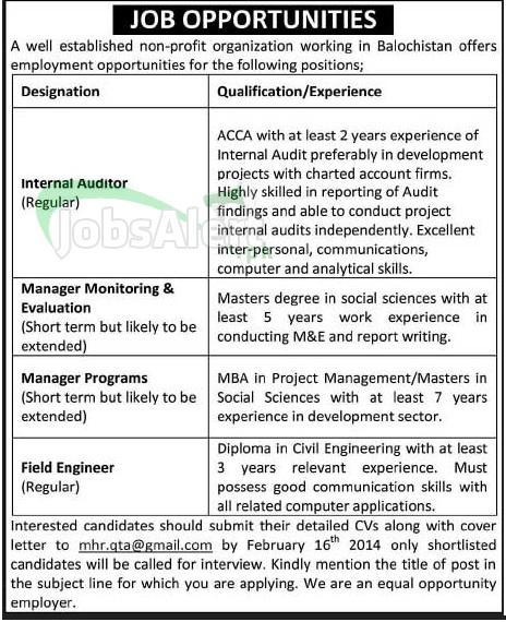 Internal Auditor, Field Engineer & Manager Jobs in Balochistan