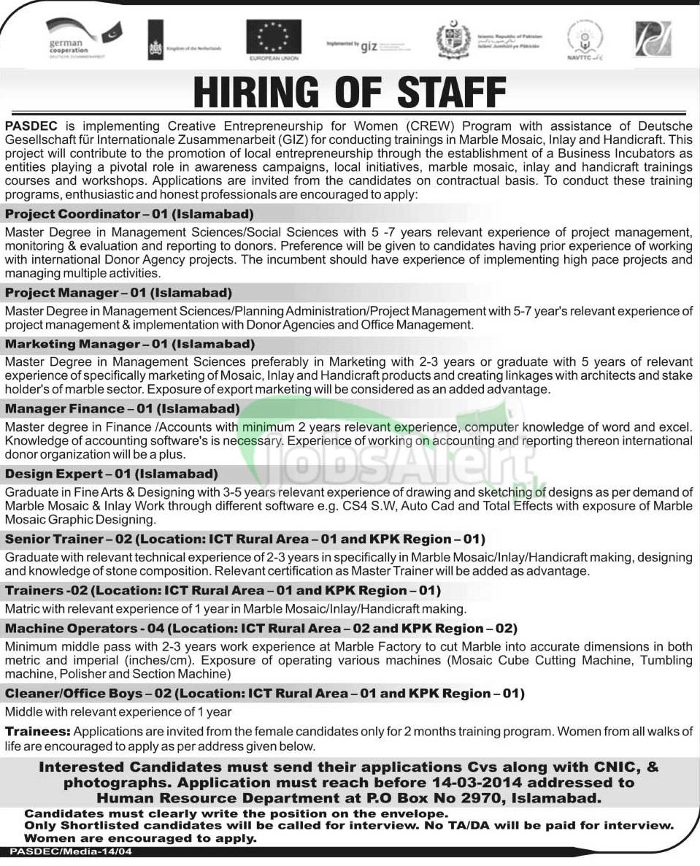 Jobs for women in PASDEC Islamabad Govt of Pakistan