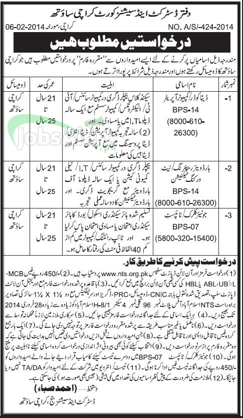 Jobs in Office of the District & Session Court, Karachi by NTS