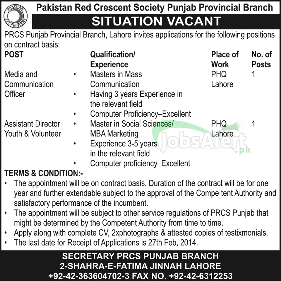 Jobs in Pakistan Red Crescent Society Punjab Provincial Branch LHR