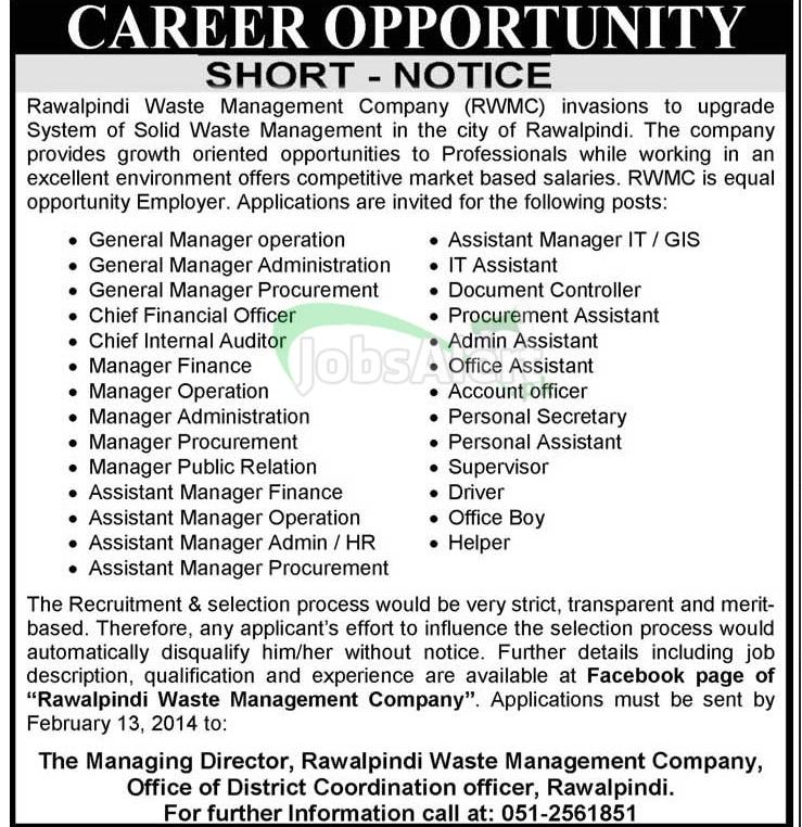 Jobs in Rawalpindi Waste Management Company Rawalpindi