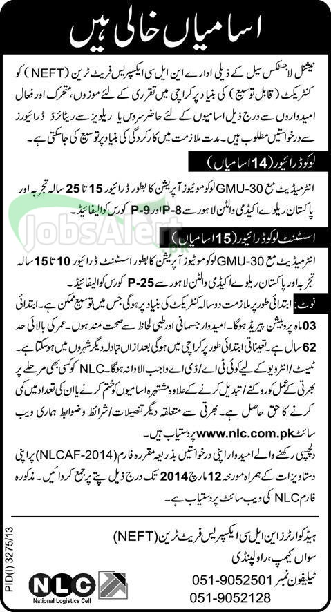 Loco Driver Jobs in National Logistic Cell (NLC) Rawalpindi