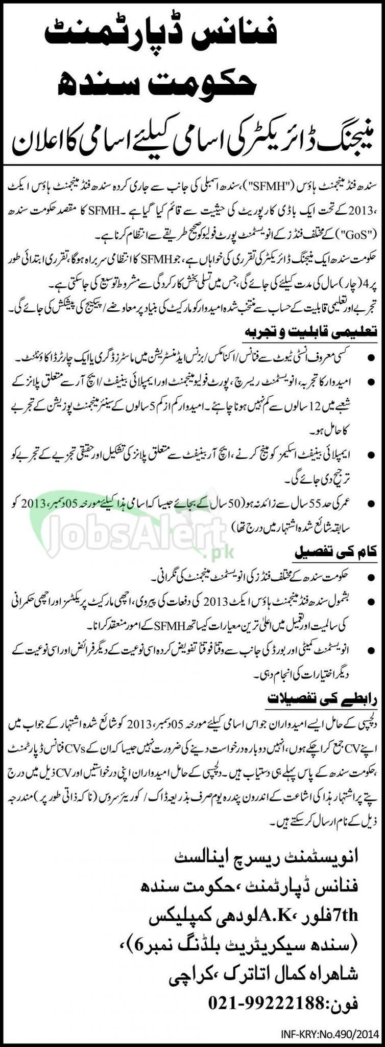 Managing Director Jobs in Finance Department Govt of Sindh Karachi