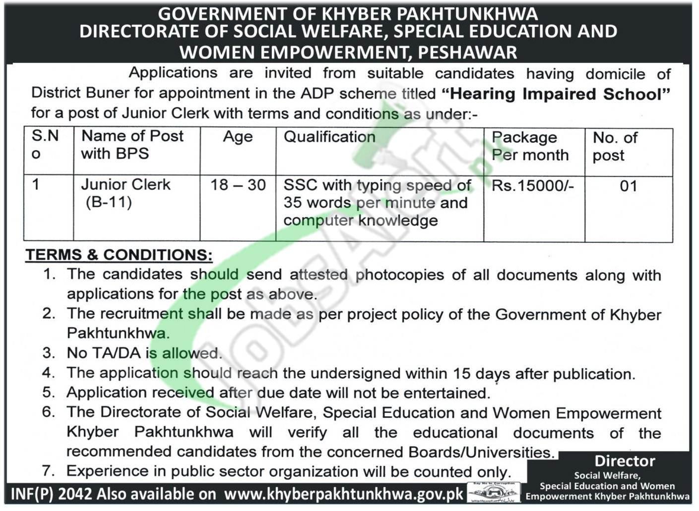Social Welfare Department KPK Jobs