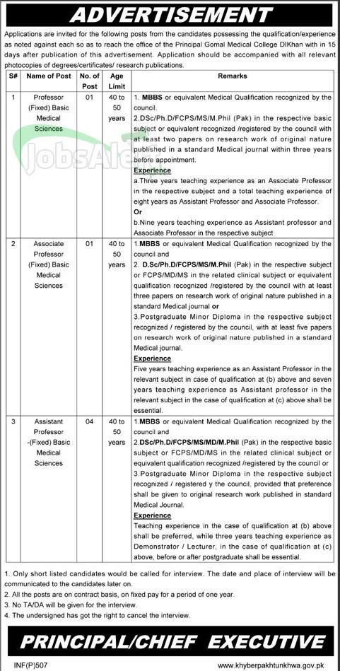 Professor & Assistant Jobs in Gomal Medical College DI Khan KPK